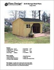 8' X 10' Saltbox Style Combo Firewood Storage Shed Project Plans -Design # 70810