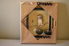 "Small Gold Framed Owl Painting Signed Harris Titled ""tough stuff"""