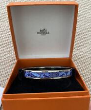 AUTHENTIC HERMES Blue Thin Enamel Bracelet Palladium Hdwr Size 62mm with Box