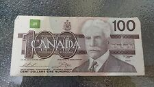 Canadian $100 Dollar Bank Note Bill AJW1964490 Circulated 1988 Canada