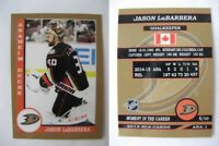 2015 SCA Jason Labarbera Anaheim Mighty Ducks goalie never issued produced #d/10