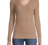 NEW St Johns Bay Small Cable Knit Beige V-neck Cotton Classic Sweater Tan JCP S