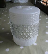 Vintage pressed glass light shade white clear 13 x 11cm Mid Century modern
