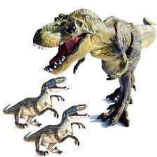 "12"" Large Tyrannosaurus Rex + Two Velociraptors Dinosaurs Toys T-Rex + Raptors"