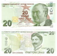 TURKEY 20 Lira (2009) P-224 UNC Banknote Paper Money