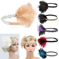 1920s Headpiece Feather Flapper Headband Beautiful Headdress Excellent US Ksy