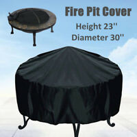 58x77CM Patio Round Fire Pit Cover Waterproof UV Protector Grill BBQ Cover Black
