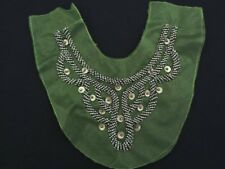 Beaded Green Mesh Tulle Applique Metal Beads Faux Leather Vinyl Sequins Netting
