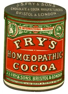 FRY'S HOMEOPATHIC COCOA die cut tin Silver Ink
