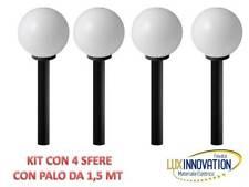 KIT N4 SFERE DA GIARDINO CON PALO ILLUMINAZIONE LAMPIONE LAMPIONCINO OPACA 1.5M