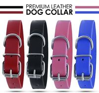 OneUP Strong Pure Leather Dog collar Pet Cat Puppy Blue Black Pink Red Four Size