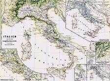 140 anni vecchia CARTINA ITALIA CARTAMONETA Langobardia Tuscia CAMPANIA CALABRIA 1877