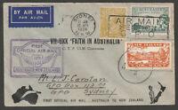 1934 - 4d KGV - Trans Tasman Faith In Australia to New Zealand to Australia