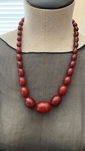 Vintage Art Deco Cherry Amber Bakelite Necklace 72.G STUNNING