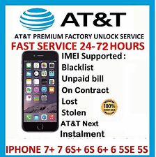 AT&T PREMIUM EXPRESS FACTORY UNLOCK - iPhone 7 Plus 7+ 6s+ 6s SE 6 ALL IMEI 100%