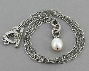 Retired Silpada Freshwater Pearl Oxidized Sterling 2 Strand Chain Necklace N1353