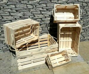 Handmade Reclaimed Pine Decorative Storage Display Crates Boxes Rope Handles
