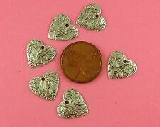 Floral Dapt Hearts - 6 Pc(s) Vintage Design Ant Silver Plated Brass