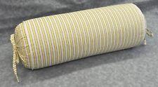 Corded Neckroll Pillow made w Ralph Lauren Studio Citron Yellow Stripe Fabric