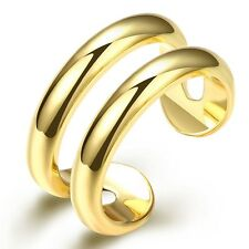 Women Open Ring 18k Yellow Gold Filled Fashion Gift Unique Jewelry size 8