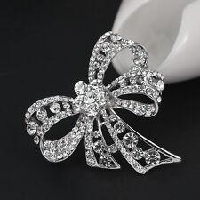 Elegant Women Clear Rhinestone Butterfly Bow Fashion Lady Party Jewellery Brooch