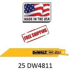 (25) DEWALT DW4811 6-Inch 18 TPI Straight Back Bi-Metal Reciprocating Saw Blade