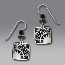 Adajio Earrings Black Square with Shiny Silver Tone Sunrise Overlay Handmade US