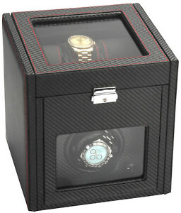 Diplomat Single 1 + 6 Carbon Fiber Watch Winder w/ Storage Battery or A/C 34-701