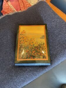 Ercolano Italian blue wooden musical jewelry box, Monet, Flower Beds at Vetheuil