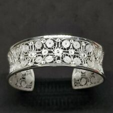 925 Sterling Silver Hand Filigree Bangle Bracelet Thai Handmade Bangle