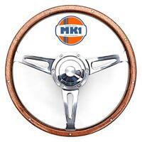 "Reliant Scimitar GTE Classic 15"" Polished Riveted Wood Rim Steering Wheel Kit"