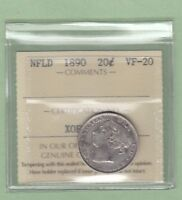 1890 Newfoundland 20 Cents Silver Coin - ICCS Graded VF-20