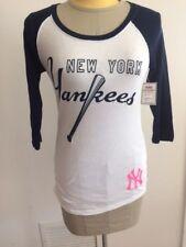 4d994e5b MLB Yankees New York Victoria's Secret PINK 3/4 Slv Raglan Shirt 86 XS White