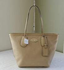 Coach 33915 Nude Crossgrain Leather Taxi Zip Tote
