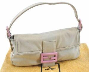 Authentic FENDI Mamma Baguette Shoulder Hand Bag Canvas Light Gray Pink E1805