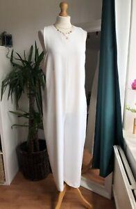 Zara White Capri Ankle Wide Leg Jumpsuit Size L Vgc