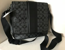 COACH HERITAGE SIGNATURE MAP CROSSBODY SLING MESSENGER BAG $328 CHARCOAL BLACK