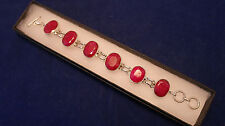 Beautiful 925 Silver Bracelet With 6 Indian Ruby 26.9 Gr 7.5 Inches Long In Box
