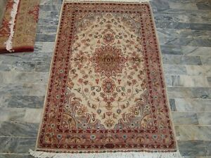 Rectangle Area Rug Ivory Medallion Floral Hand Knotted Wool Silk Carpet (5 x 3)'