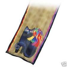 Laurel Burch 100% Silk Oblong Scarf Ebony Black Cat With Bright Parrots NWT