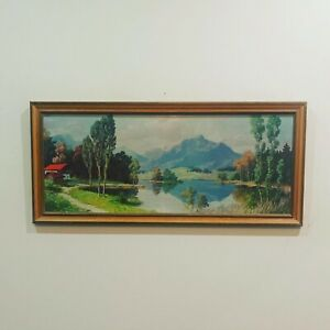 VINTAGE Mid Century Alps Landscape Art 1950's Kitsch CAN BE MAILED