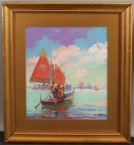 Antique AUGUSTO ACORES Italian Venetian Sailboat Harbor Gouache Painting, NR