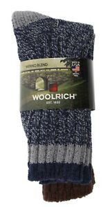 Men's Socks Woolrich Two Pairs Size Large Blue Marled Brown Cotton Wool Blend
