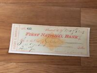 First National Bank Check from 1881 Mint Condition
