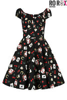Hell Bunny Viva Las Vegas Poker Retro Vintage Rockabilly Pinup 50's Flare Dress