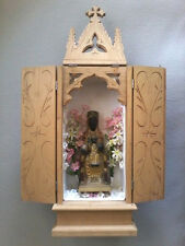 VINTAGE BLACK MADONNA OF MONTSERRAT TRAVELING POOR BOX/ALMS CHEST RELIQUARY