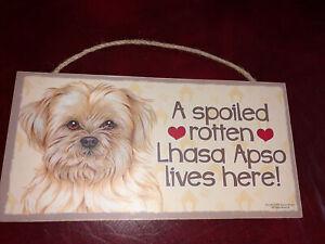 """Lhasa Apso Hanging Dog Sign 10"""" X 5"""""""