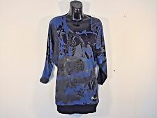 DESIGUAL Top Womens Size S Black Blue Long Sleeve Embroidered Beaded HAPPY!