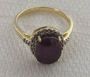 14K Yellow Gold Over Solid Sterling Silver 26 Diamonds 3.0 CTW Ruby Ring Size 7