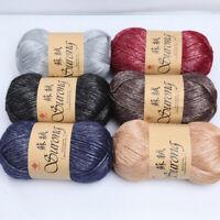 100g/Roll  Silk Cotton Knitted Crochet Yarn Thick Wool Thread Scarf Sweater UK